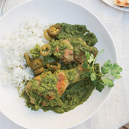 Braised Chicken with Cilantro, Mint and Chiles Recipe