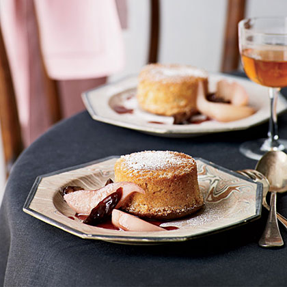 Fallen Toasted-Almond Soufflés with Poached Pears and Prunes Recipe
