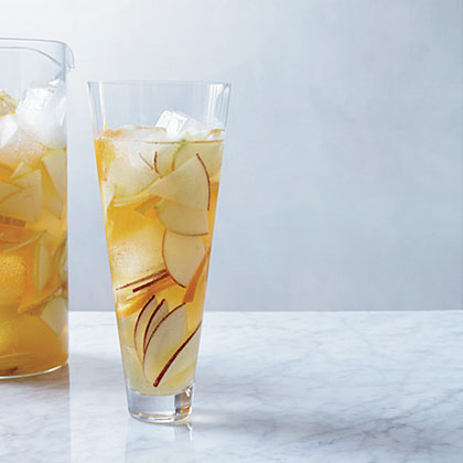 Hard Cider Sangria RecipeInstead of wine, this juicy sangria is made with hard cider spiked with lemon juice and apple brandy.