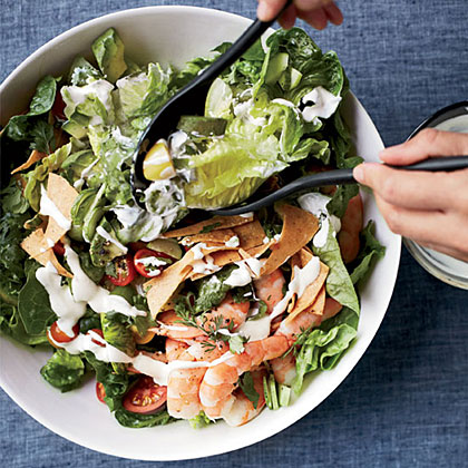 Mexican Shrimp-and-Avocado Salad with Tortilla Chips Recipe