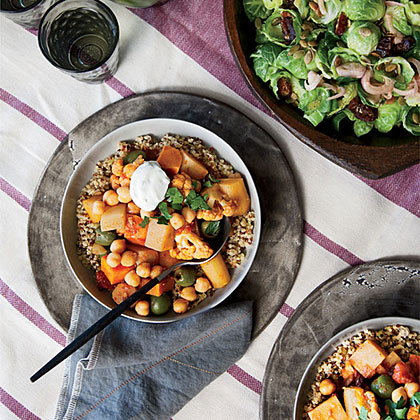 Root Vegetable and Cauliflower Tagine with Parsley Yogurt Recipe