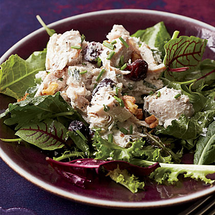 Walnut-Cranberry Turkey Salad RecipeThe dressing for this light, delicious turkey salad is made with low-fat mayonnaise, yogurt and chopped herbs.