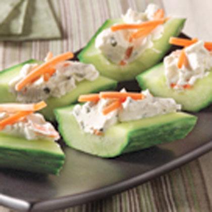 Cream Cheese 'n Herb Cucumber Bites Recipe | MyRecipes