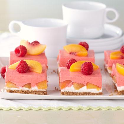 Creamy Layered Peach Squares