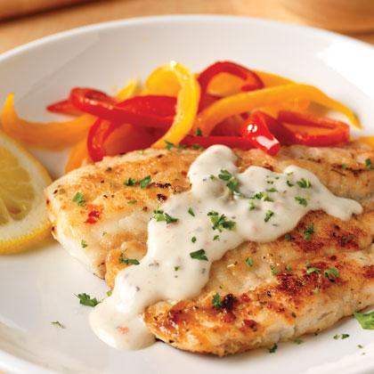Pan fried fish with creamy lemon sauce for two recipe for Italian fish recipes