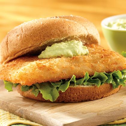 Fish Sandwich with Creamy Avocado Sauce