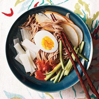 Korean Chilled Buckwheat Noodles with Chile Sauce (Bibim Naengmyun)