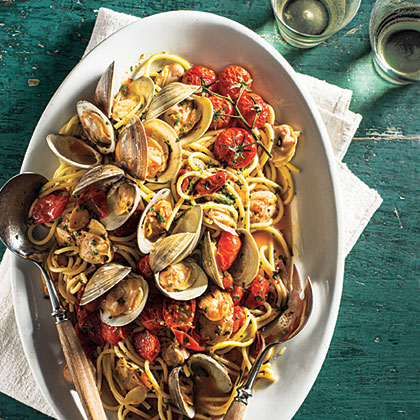 Spaghetti with Clams & Slow-Roasted Cherry Tomatoes Recipe ...