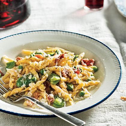 Strozzapreti with Favas, Peas, and Prosciutto Recipe