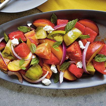 Heirloom Tomato, Watermelon, and Peach Salad Recipe