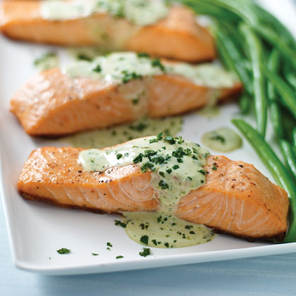 Grilled Salmon with Pesto Sauce Recipe | MyRecipes.com