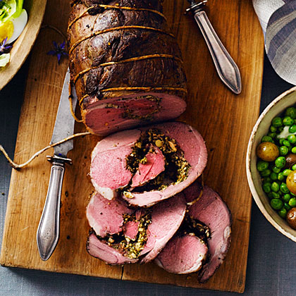 Roast Leg of Lamb with Almond-Mint Pesto
