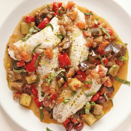 <p>Steamed Fish with Rataouille</p>
