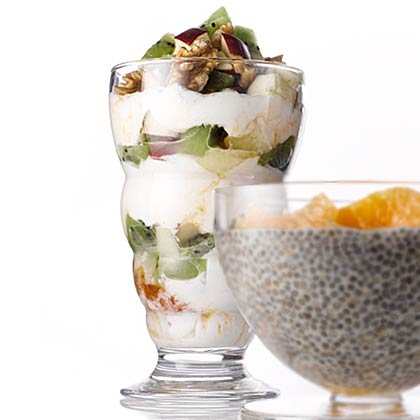 Parfaits are a fun way to mix up your breakfast or snack routine. This recipe has layers or tart kiwi, loaded with vitamin C, protein-packed Greek yogurt, crunchy, heart-healthy walnuts, and apple and apricot flavors.