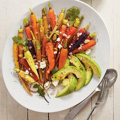 Roasted Carrots with Avocado and Feta Vinaigrette Recipe