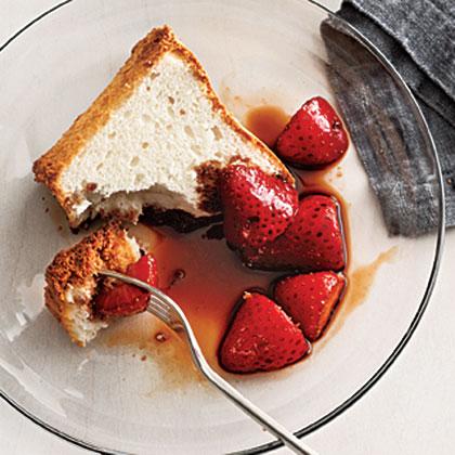 Balsamic Strawberries over Angel Food Cake