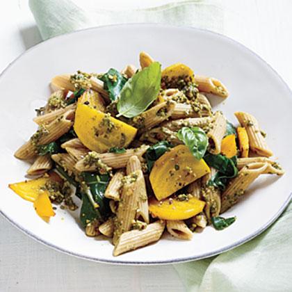 Golden Beet Pasta with Basil-Almond Pesto