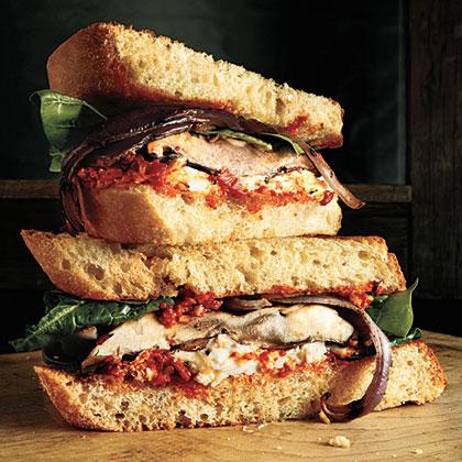Portobello Sandwiches with Red Pepper Sauce