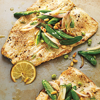 Rainbow Trout with Seared Sugar Snaps