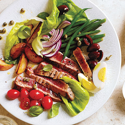 Tuna Salad Niçoise                            RecipeThis colorful, classic French salad is packed with nutrients, not gluten. The recipe suggests pairing with Goat Cheese Crostini, which you can make substituting a gluten-free baguette for traditional French bread.