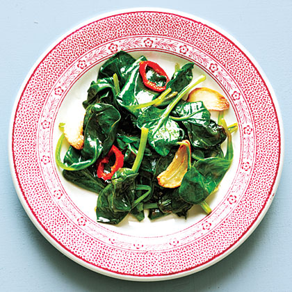 Wilted Spinach with Fresh ChileRecipe