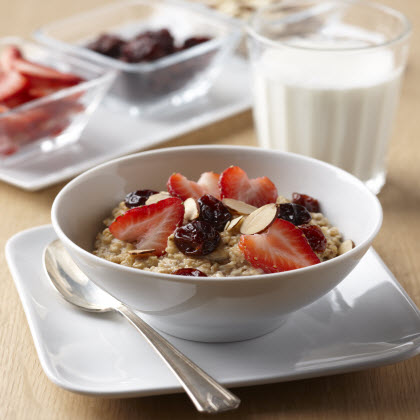 Hearty Oatmeal with Strawberries, Dried Cherries and Almonds
