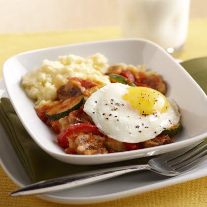 Skillet Eggs and Polenta