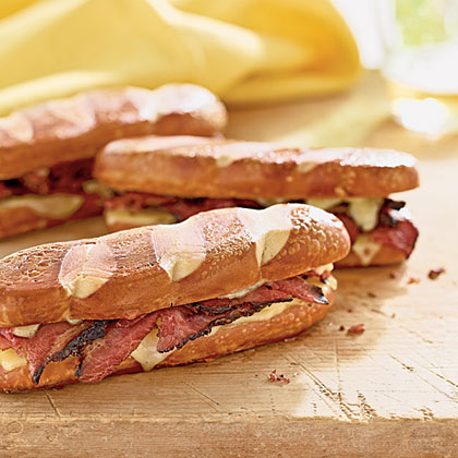 Pastrami and Swiss on Pretzel Rolls