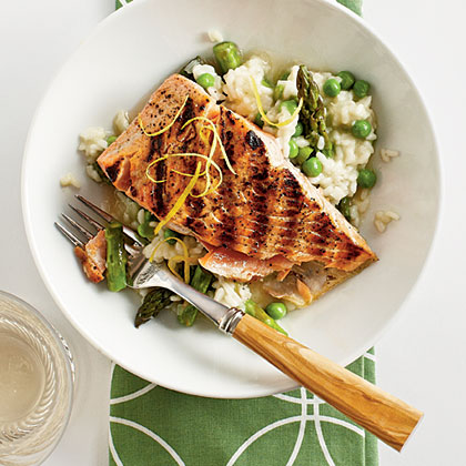 Salmon with Quick Spring RisottoRecipe