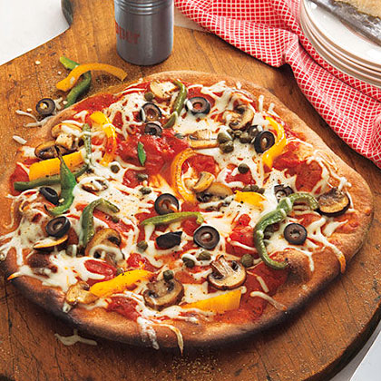 Mushroom, Pepper, Olive and Capers Pizza Recipe