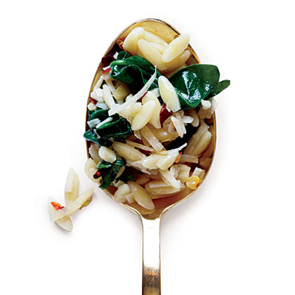 Orzo with Garlicky Spinach