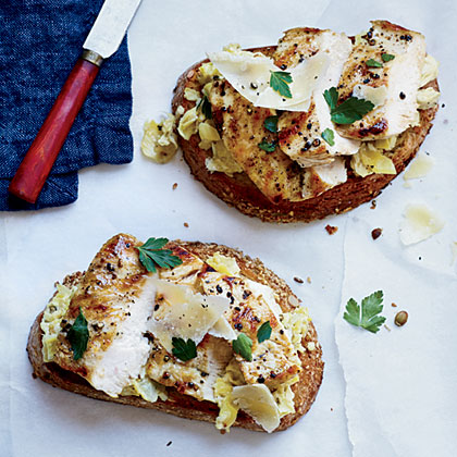 Open-Faced Chicken Sandwiches with Artichoke Pesto