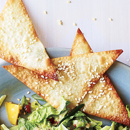 Sesame Wonton Crisps Recipe | MyRecipes