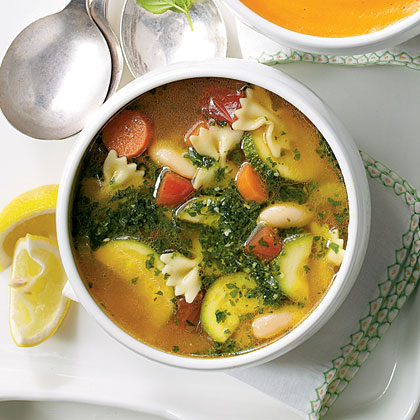 Vegetable Soup with Basil Pesto Recipe