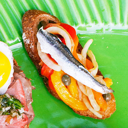 Picnic Crostini with Roasted Pepper, Onion, and Anchovy