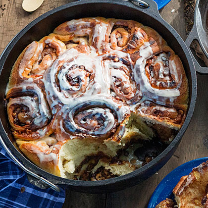 Dutch oven cinnamon rolls recipe myrecipes for Healthy dutch oven camping recipes