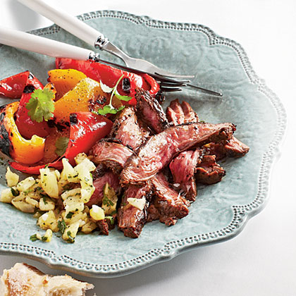 Espresso-Rubbed Skirt Steak with Pineapple ChimichurriRecipe
