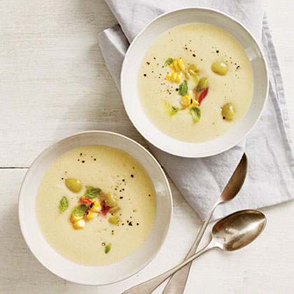 Chilled Butter Bean Soup with Basil-Corn Relish