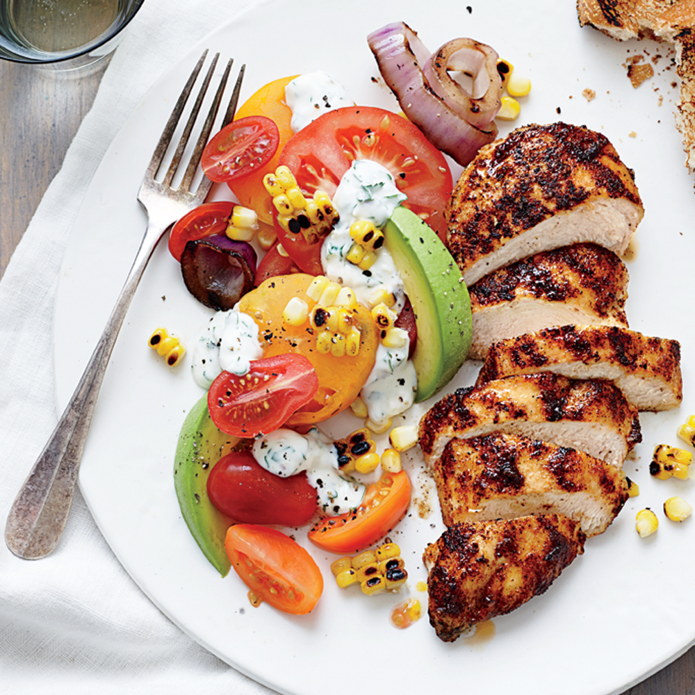 Grilled Chicken With Tomato Avocado Salad Recipe Myrecipes