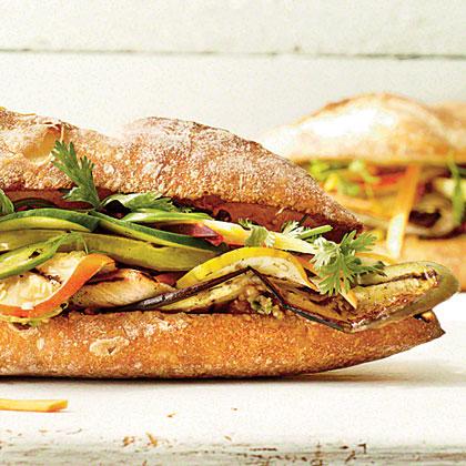 Grilled Eggplant Banh Mi Sandwich
