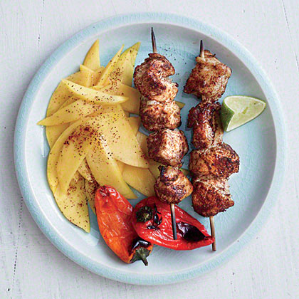 Honey-Lime Chicken Kebabs with Mango Slices Recipe