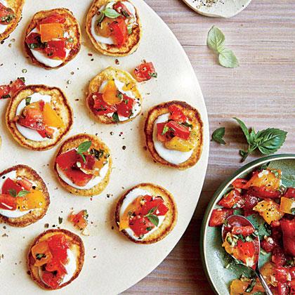 Mini Cornmeal Cakes with Heirloom Tomato Relish Recipe