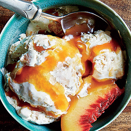 Peach Cobbler Ice Cream with Bourbon-Caramel Sauce