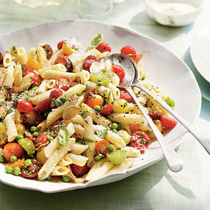 Penne with Herbs, Tomatoes, and Peas Recipe