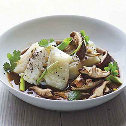 Poached Cod with Shiitakes Recipe