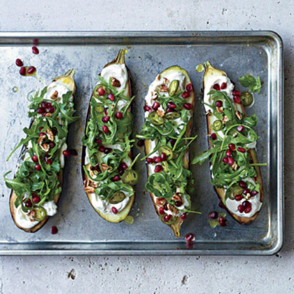 Roasted Eggplant with Pomegranate, Pickled Chiles, and Pecans Recipe