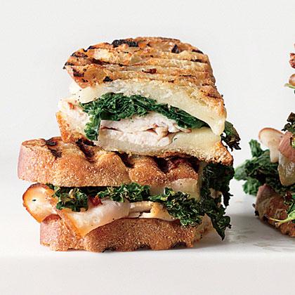 Sautéed Greens, Smoked Turkey, and Provolone Panini