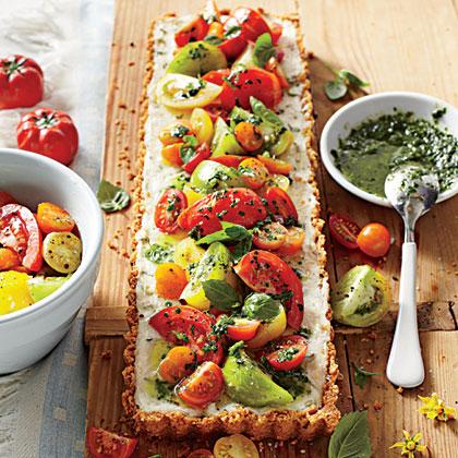 Tomato-Goat Cheese Tart with Lemon-Basil VinaigretteRecipe