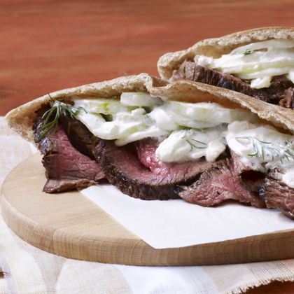 Grilled Steak with Tzatziki Salad