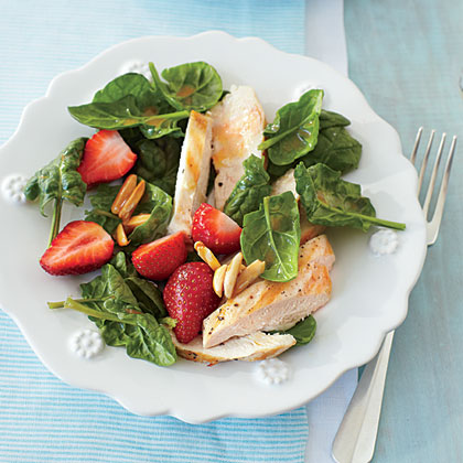 Grilled Chicken-and-Strawberry Salad RecipeTake advantage of summer's bountiful crop of strawberries with this light and refreshing meal of Grilled Chicken-and-Strawberry Salad.
